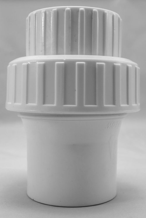 "1½"" one way valve, white color."